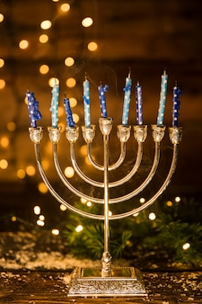 Golden menorah with candles