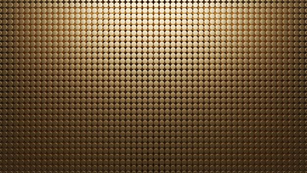 Golden metal background of small circles. pattern mesh abstract 3d render. carbon materal. texture