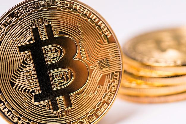 Golden metal bitcoin coin. bitcoin cryptocurrency concept