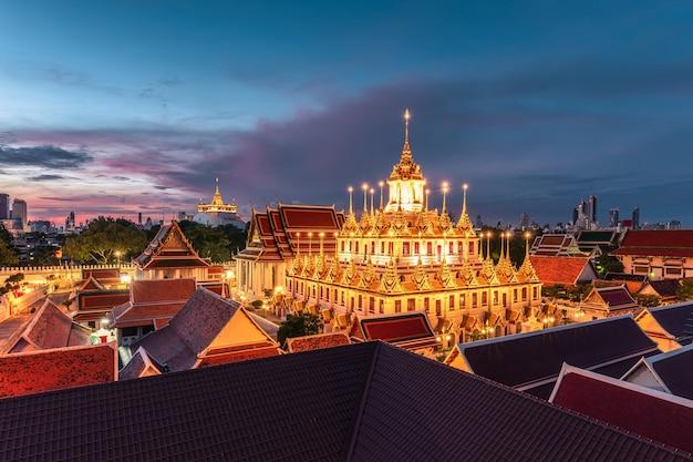 Golden metal castle illuminated, wat ratchanatdaram woravihara