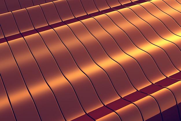 Golden metal wavy construction background