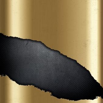 Fondo oro metallico con ritaglio strappato su grunge perforata