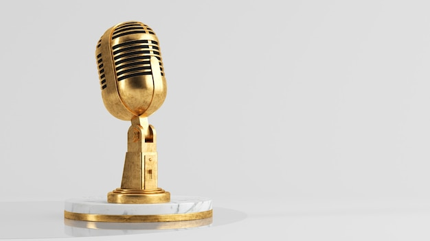 Golden microphone podcast concept 3d rendering