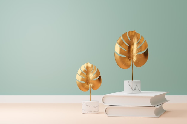 황금 몬스테라 식물은 대리석 바닥과 밝은 녹색 벽에 흰색 책을 놓습니다. 3d 일러스트 이미지입니다.