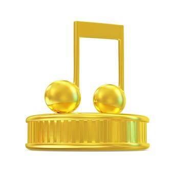 白で隔離された表彰台の黄金の音符