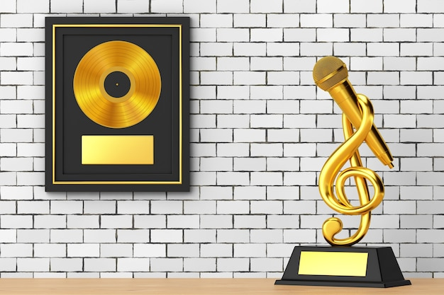 마이크 상 트로피가 있는 골든 뮤직 고음 음자리표와 벽돌 벽 배경에 블랙 프레임에 레이블이 있는 골든 비닐 또는 cd 상. 3d 렌더링