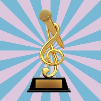 빈티지 별 모양 분홍색과 파란색 배경에 마이크 상 트로피와 함께 황금 음악 고음 음자리표. 3d 렌더링