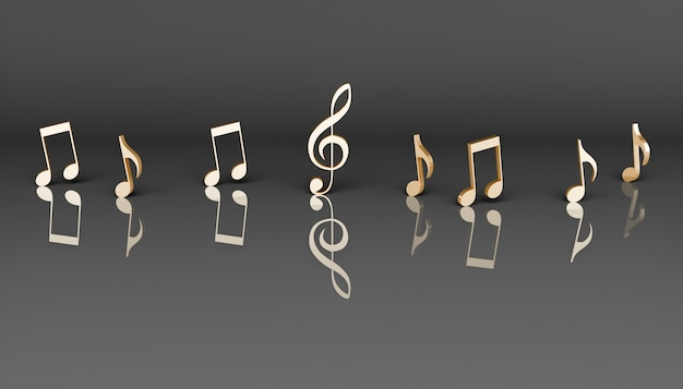 Golden musical notes on a black background, 3d illustration