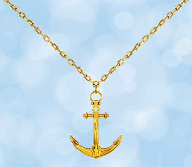Golden necklace with anchor on a blue background. 3d rendering.