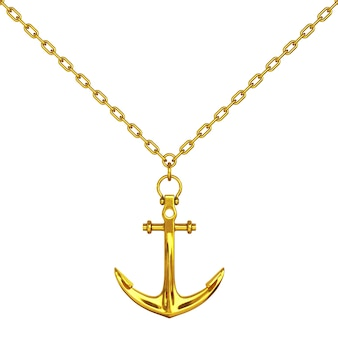 Golden necklace with anchor on a white background. 3d rendering.