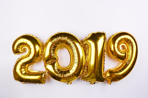 Golden new year 2019 balloons