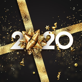 Golden new year 2020 sign on a black background with sweets and gift bow
