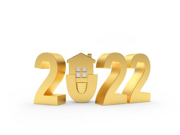 Золотой новогодний номер со значком дома