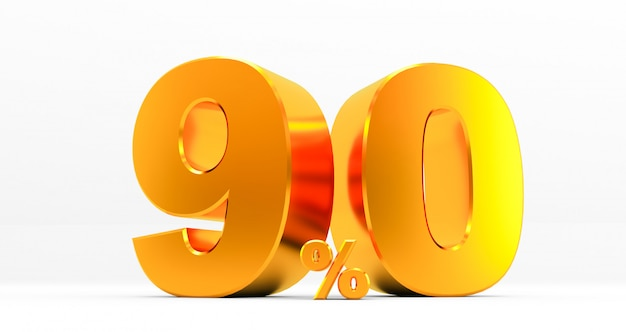 Golden ninety percent on a white background. sale of special offers. discount with the price is 90%. 3d rendering