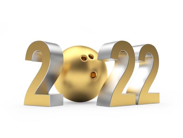 Золотой номер новый год с шаром для боулинга Premium Фотографии