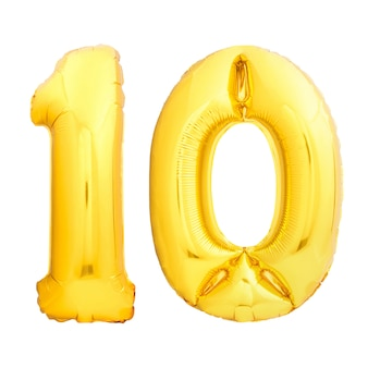 Golden number 10 ten made of inflatable balloon isolated on white