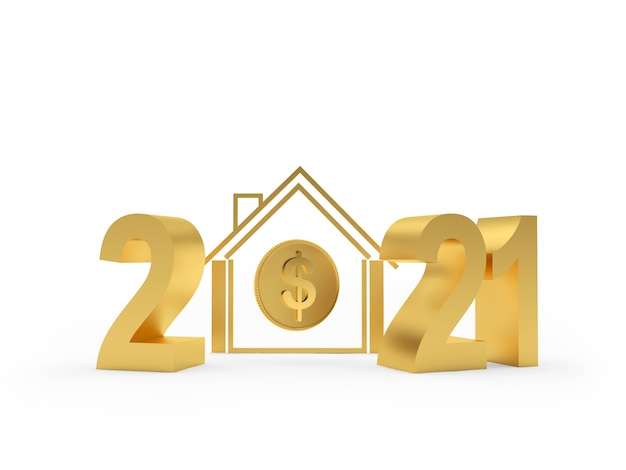 Golden number 2021 and house symbol with dollar sign