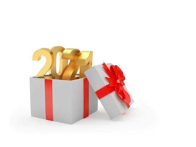 Золотой номер 2021 в изолированной подарочной коробке
