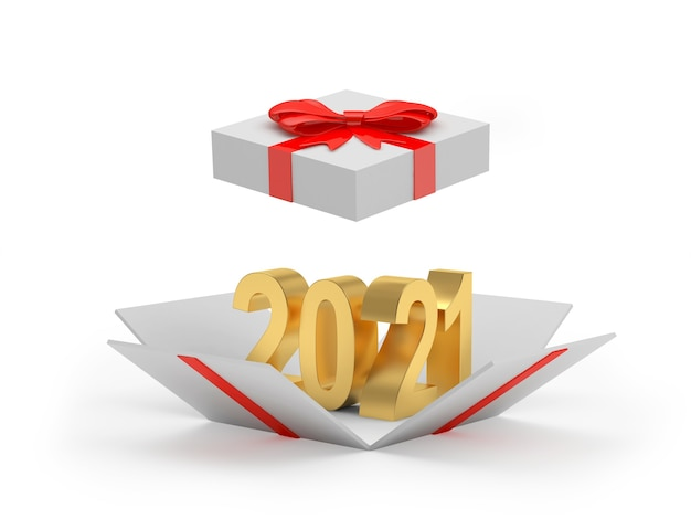 Золотой номер 2021 в открытой подарочной коробке