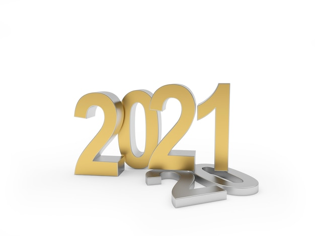 The golden number 2021 stands on a lying silver number 20