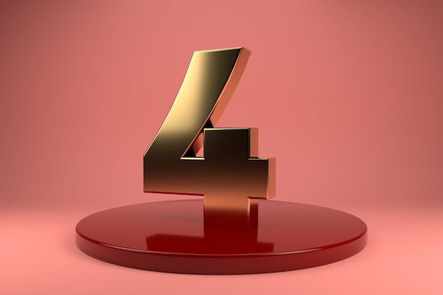 Golden number 4 on stand