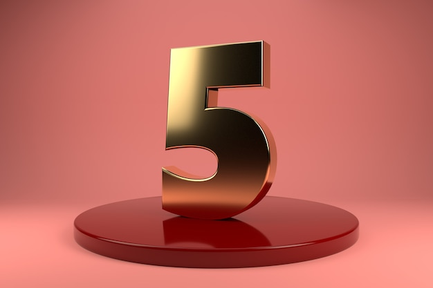 Golden number 5 on stand