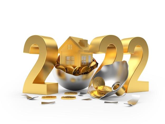 Золотой номер новый год с домиком в сломанном новогоднем шаре