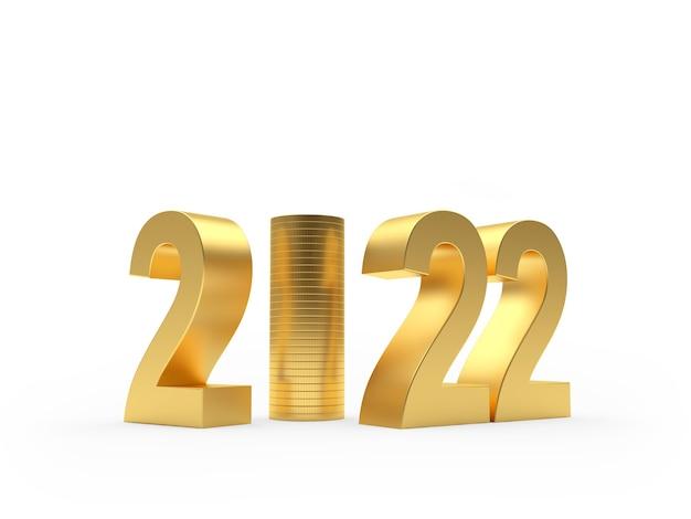 Золотой номер новый год со стопкой золотых монет