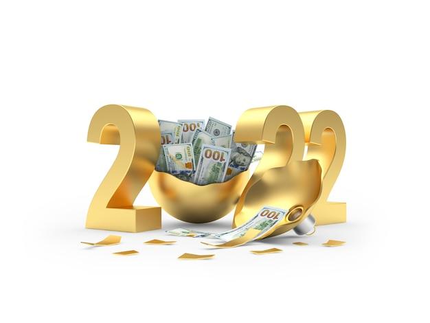 Золотое число нового года и сломанный елочный шар, полный долларовых купюр