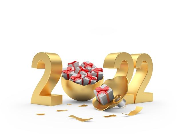 Золотое число нового года со сломанным елочным шаром, полным подарочных коробок