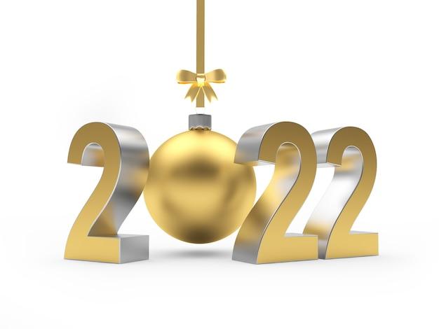 Золотой номер нового года с елочным шаром, свисающим с ленты