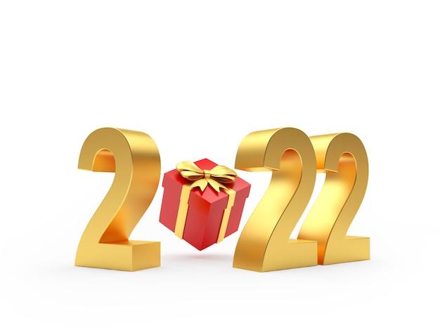 Золотой номер нового года с красной подарочной коробкой