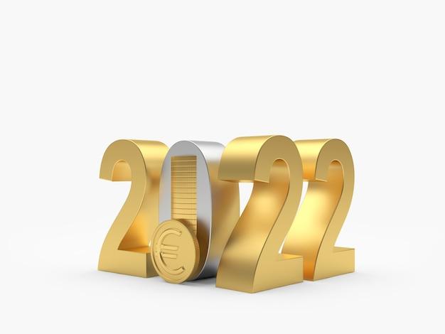 Золотое число нового года со стопкой монет евро