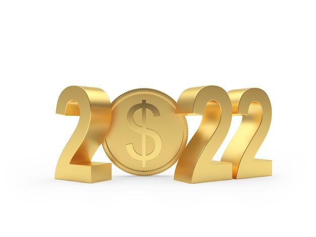 Золотой номер нового года с долларовой монетой