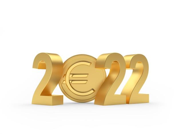 Золотой номер нового года с монетой евро