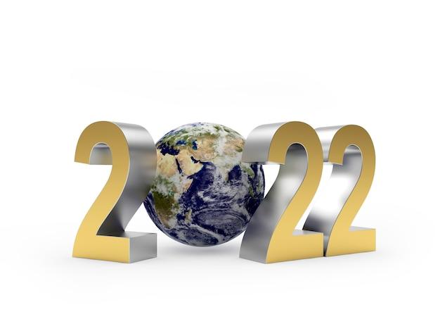 Золотое число нового года с глобусом
