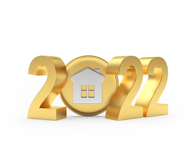 Золотое число нового года со значком дома