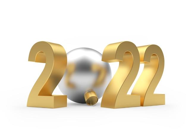 Золотое число нового года с серебряным елочным шаром