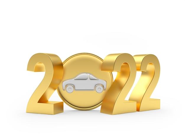 Золотой номер со значком автомобиля Premium Фотографии