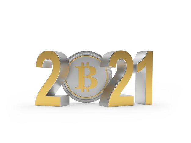 Golden numbers 2021 with bitcoin coin