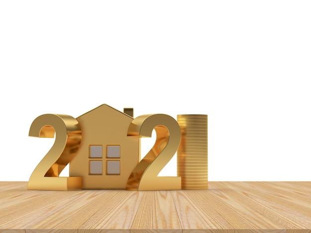 Золотые числа 2021 года со значком дома и монетами в стопке