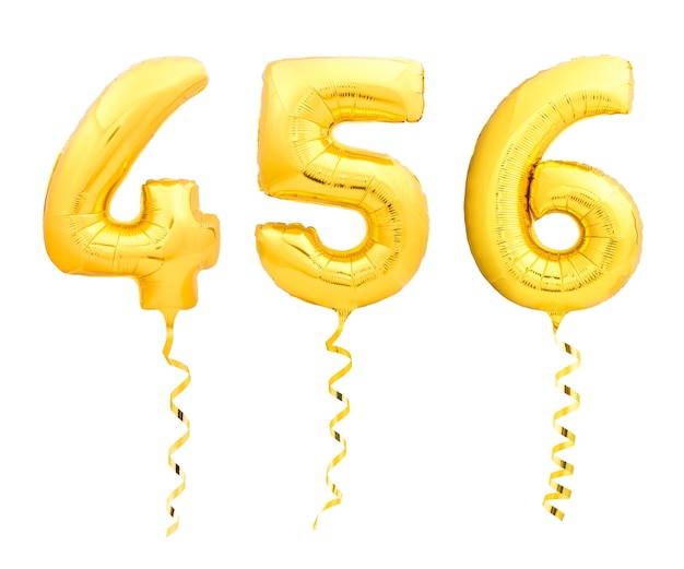 Golden numbers 4, 5, 6 made of inflatable balloons with golden ribbons isolated on white background