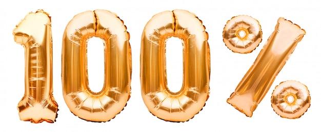白で隔離される膨脹可能な風船で作られた黄金の100%記号。ヘリウム風船、金箔の数字。セール装飾、100%オフ