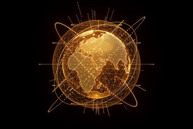 Golden, orange hologram of the planet earth made of dots isolated on a black wall. globalization, network, fast internet. copy space, 3d rendering 3d illustrations.
