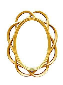 白い背景で隔離の黄金の楕円形のヴィンテージフレーム