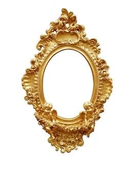 Golden oval vintage frame isolated on white background