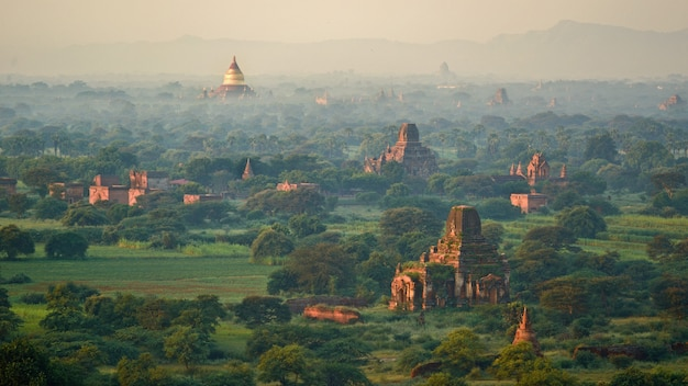 Golden pagoda and jay dee stand out in bagan, myanmar