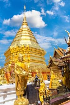 Golden pagoda wat phra that doi suthep in chiang mai thailand
