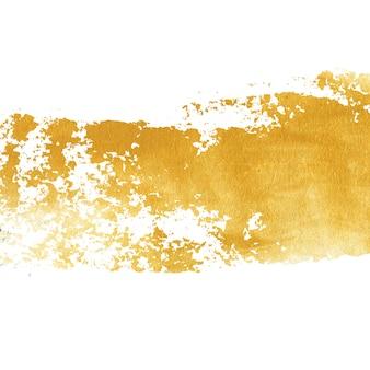 Пятно золотой краской, изолированные на белом фоне. блестящая золотая текстура сделана мастихином.
