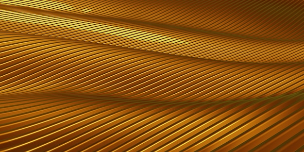 Golden parallel lines distorted shape curve golden plastic tube texture modern abstract 3d illustration
